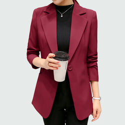 Wine Red Black Women Blazers And Jackets