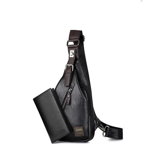 Cross-body Bag Theft-proof Rotatable Button Open Leather Chest Bags