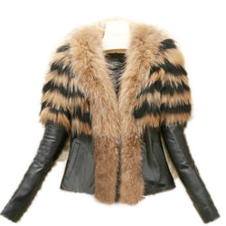 Faux Fur Coat Jacket Women's Winter PU Leather Fur Jacket