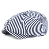 Summer Newsboy Flat Cap Black Navy Blue Stripe
