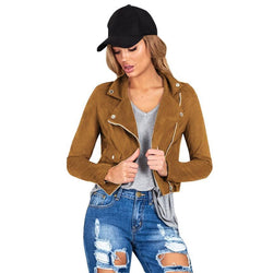 Women's Slim Long Sleeve Faux Leather Zipper Jackets