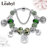 Stering 925 Silver Tree of Life Vintage Bead Pan Bracelet Green Crystal Floral Leaf Charms DIY Snap Button Bracelet Pulsera
