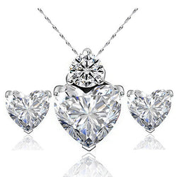 Hot Sale Classic Romantic Heart Shape Pendant Necklace Earrings Women Jewelry Sets Cubic Zirconia Engagement Wedding Jewelry