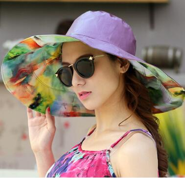 9597f692d90 GEERSIDAN 2018 Summer large brim beach sun hats for women UV protection sun  caps with big
