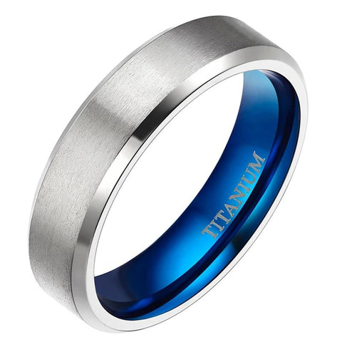 6mm Titanium Stainless Steel Two Colors Silver And Blue Wedding Ring