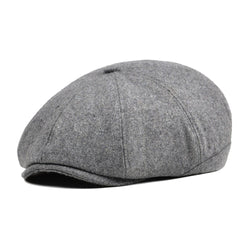 VOBOOM Tweed Woolen Newsboy Cap Women Men 8 Panel Country Baker Boy Ivy Flat Cap Light Gray Beret Hats Driver Golf Boina 111