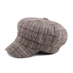 2018 New Arrive Spring Vintage Plaid Cap Men Cotton Newsboy Caps Winter Hats For Women