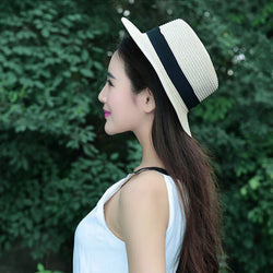 White New Fashion Flat Sun Hat Women's Summer bow Straw Hats For Women Beach Headwear femme Jewelry Gift Hot Item Stylish