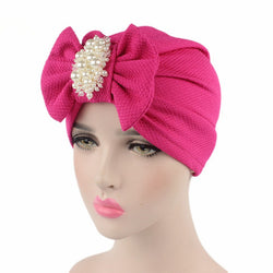 Women New Big Bowknot Scarf Hat Muslim Indian Style Cap Fashion Pearl Jewelry Headdress Ladies Chemo Cap Turban