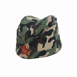 Russian Army Cap Tricorne Green Camo Badge Women Sailor Military Stage Performance Pentagram five star Chinese Boat Dance Hats