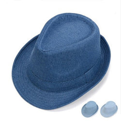 Classical Denim Top Fedora Hat For Men Steampunk Formal Gentleman Dickens Costume Hats Outdoor Stingy Brim Caps