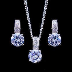 Emmaya Bridal Jewelry Sets Female Jewellery With Zircon Set of Earrings Pendant Necklaces Gift Party for Woman