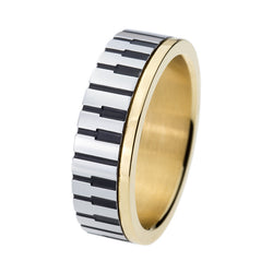 7mm Men Women' Gold Piano Key Board Ring for Music Lovers 316L Stainless Steel Wedding Engagement Fashion Jewelry TGTU509R - onlinejewelleryshopaus