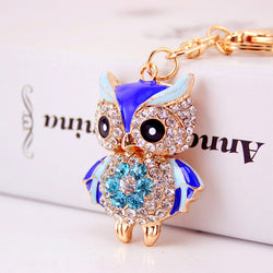 Cute Owl Crystal Key Chains Rings Holder For Women Flower Rhinestone Purse Bag Buckle Pendant For Car Keyrings KeyChains K288 - onlinejewelleryshopaus