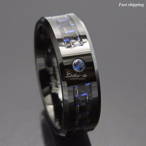 Black and blue Carbon Fiber Tungsten Ring Blue Mens jewelry Wedding Band Free Shipping - onlinejewelleryshopaus