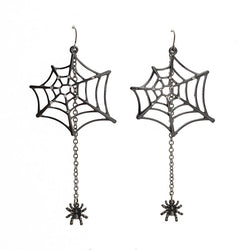 "Hot sell Fashion Jewelry Black Spiders 3.5""Dangle Drop Earrings ZZI Cool for Hallowen Costume freeshipping - onlinejewelleryshopaus"