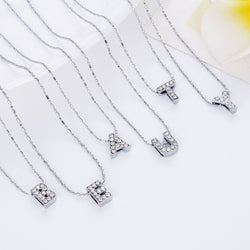 Brand Design Initial  Letters Crystal Silver  Necklace Women Sweater Chain Best Friends Gift Jewelr Free Shipping - onlinejewelleryshopaus