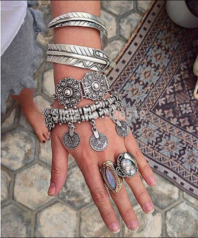 1pc lady Charms Vintage Silver coin Gypsy Boho Coachella Moon lovers Beachy Chic Festival Turkish Wrap Bracelet Anklet jewelry - onlinejewelleryshopaus