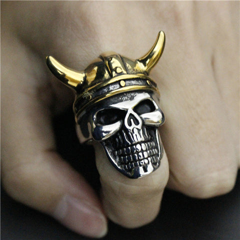 Size 8-14 Newest Horn Skull Ring 316L Stainless Steel Fast Shipment Punk Style Horn Cool Bull Ring - onlinejewelleryshopaus
