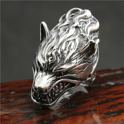 New Arrival 316L Stainless Steel Punk Murderous Wolf Mens Ring Cool Animal Wolf Ring - onlinejewelleryshopaus