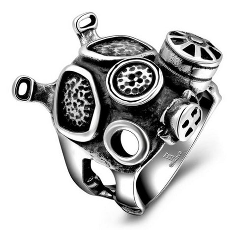 New Men's Steampunk Steam Engine Biker Ring Doctor Who Punk Machinery Black Apocalypse Gas Mask Ring Fine Jewelry Rings - onlinejewelleryshopaus