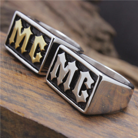 2015 Cool 316L Stainless Steel Cool Golden Silver MC Biker Ring - onlinejewelleryshopaus