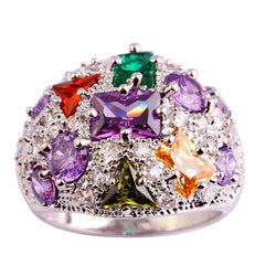 lingmei Luxury Bohemia Style Women Purple Amethyst Multi-Color Silver Ring Size 7 8 9 10 Party Jewelry Free Shipping Wholesale - onlinejewelleryshopaus