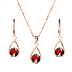 MISANANRYNE Hot Wedding Jewelry Sets Womens Gold Color Red/White Waterdrop CZ Zircon Necklace Earrings