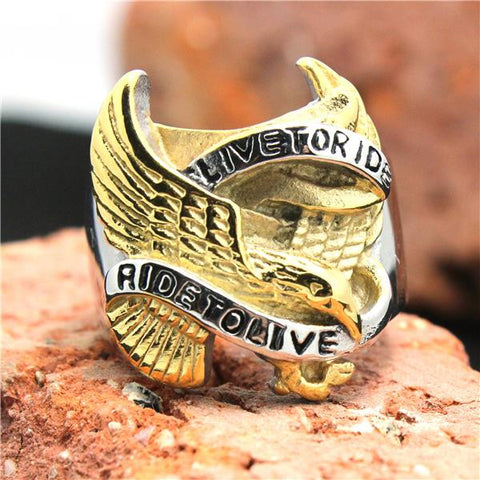 316L Stainless Steel Silver Golden Biker Eagle Ring Mens Motorcycle Biker Eagle Band Party Ring - onlinejewelleryshopaus