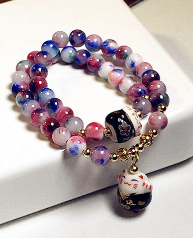 Lucky cat crystal natural stone bracelet multilayer beaded bracelets for women jewelry female gift - onlinejewelleryshopaus