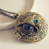 1 x Occident Retro Vintage Crystal Charms Blue Eye Owl Round Box Opening Locket Pendant Sweater Necklace for women Free Shipping - onlinejewelleryshopaus