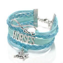 Fashion Jewelry high quality Handmade unisex Barcelet horse Metal Plate decorations Charms 5 color Braided Wristband Bracelets - onlinejewelleryshopaus