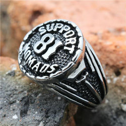 2015 Cool 316L Stainless Steel Silver Biker 81 Support Ring Mens Motorcycle Biker 81 Ring - onlinejewelleryshopaus