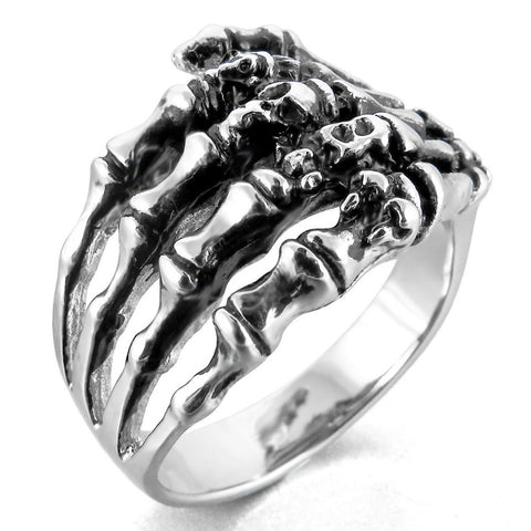 Stainless Steel Jewelry Skeleton Hand Ring anel Men's Cool Punk Gothic Ghost Biker Band Skull  Silver Size 7-14 Free Shippin - onlinejewelleryshopaus