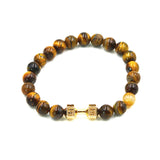 Natural Stone Turquoise Tiger Eye Matte Lava Stone Beads Dumbbell Bracelet Strand Elastic Rope Adjustable Size Men Women Jewelry - onlinejewelleryshopaus