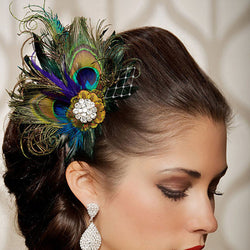 2015 New Tiara Noiva Crown Jewelry Tiara Newest Rhinestones Peacock Feather Bridal Wedding Hair Clip Pin Head Hairpin Sunny - onlinejewelleryshopaus