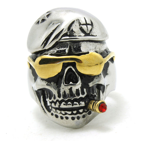 316L Stainless Steel Cool Punk Gothic Golden Pirate Skull Smoke Person Newest Ring - onlinejewelleryshopaus