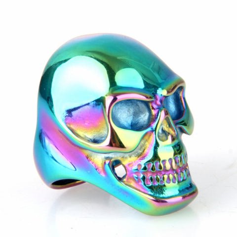 Rock Punk Stainless Steel Skull Ring For Mens Biker Skull Head Finger Rings Male New Fashion 2016 Men Jewelry Wholesale - onlinejewelleryshopaus