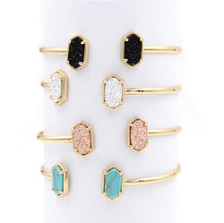 2016 New Cute Oval Quartze Copper Bangles White and Blue Turquoise Stone Resin Druzy Cuff Bracelets for Women - onlinejewelleryshopaus