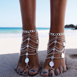 2016 Ladyfirt New Fashion Coin Pendant Ankle Bracelet Chain Vintage Foot Chain Jewelry Barefoot Sandals Anklet 1pc For Women3312 - onlinejewelleryshopaus