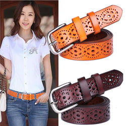 New Women Fashion Wide Genuine Leather Belt Woman Without Drilling Luxury Jeans Belts Female Top Quality Straps Ceinture Femme - onlinejewelleryshopaus