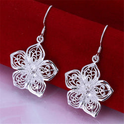 High quality  silver plated beautiful flower earrings hot selling fashion jewelry E035 Free shipping Christmas gifts - onlinejewelleryshopaus
