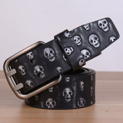 New Famous Designer Luxury Skull Pattern Belts Women Men Belts Male Waist Strap Faux Leather Alloy Buckle Waistband for Men - onlinejewelleryshopaus