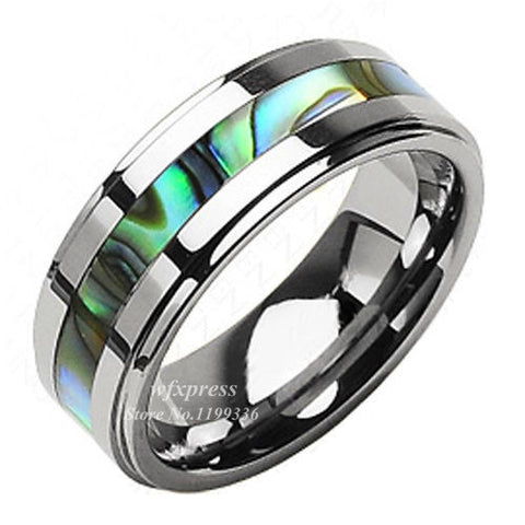 8mm Tungsten Stunning jade & Abalone Stripe Inlaid Wedding Band Ring Men Free Shipping - onlinejewelleryshopaus