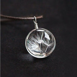 Hot sale Real Dandelion Jewelry Crystal Glass Ball Dandelion Necklace Long Strip Leather Chain Pendant Necklaces For Women - onlinejewelleryshopaus
