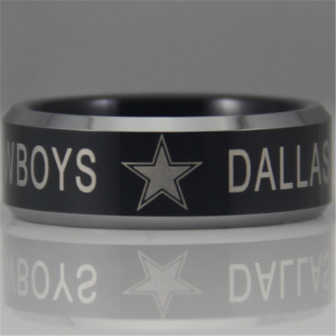 Free Shipping YGK JEWELRY Hot Sales 8MM Dallas Cowboys Design Men's Black Tungsten Comfort Fit Ring - onlinejewelleryshopaus