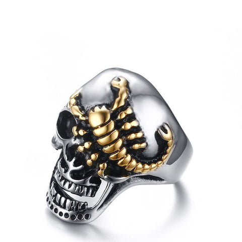 Men's Skull Bone Gothic Rings of Punk Gold Plated Scorpions Wholesale Stainless Steel Vintage Biker Rings for Men Jewelry - onlinejewelleryshopaus
