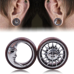 1 Pair Fashion Wood Sun & Moon Hollow Ear Plugs Saddle Flesh Tunnel Ear Gauges Expander Women Piercing Body Jewelry 8mm - 20mm - onlinejewelleryshopaus