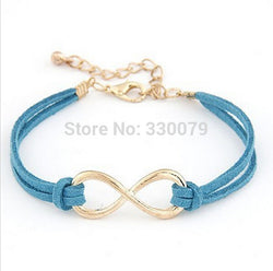 SL103 Hot Selling Cheap Wholsale Fashion Infinity Leather Bracelet Eight Cross Bangle For Girl Wedding Jewelry Accessories - onlinejewelleryshopaus