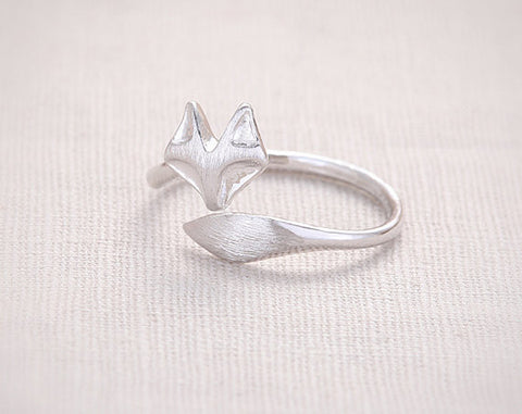 Fashion fox's head ring, face and tail wire drawing processing fox rings for women wholesale free shipping - onlinejewelleryshopaus